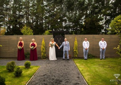 Bridal party in gardens