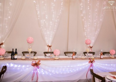 Pink & gold setting at Lacebark