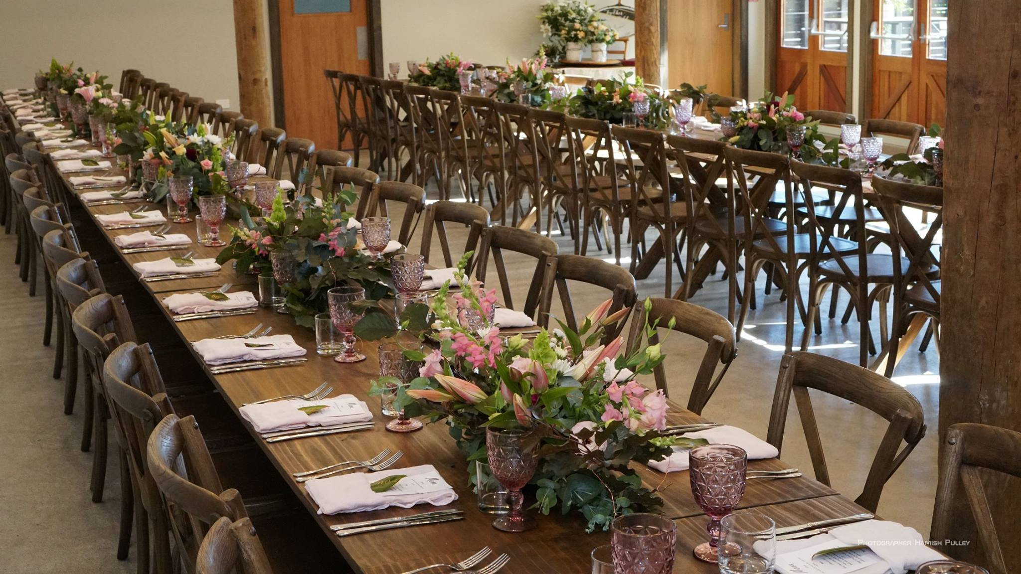 Pink floral table setting